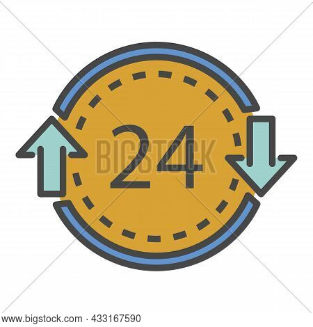 24 Hours Delivery Icon. Outline 24 Hours Delivery Vector Icon Color Flat Isolated On White