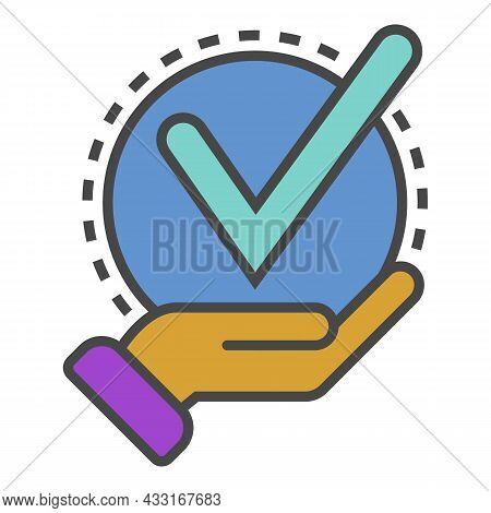 Successful Delivery Icon. Outline Successful Delivery Vector Icon Color Flat Isolated On White