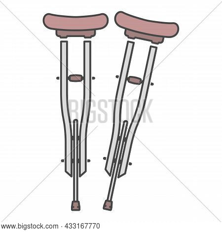 Wood Crutches Icon. Outline Wood Crutches Vector Icon Color Flat Isolated On White