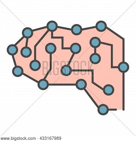 Neural Brain Icon. Outline Neural Brain Vector Icon Color Flat Isolated On White