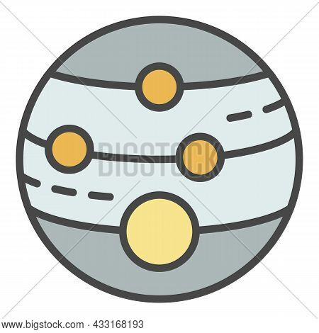Planet Satellite Icon. Outline Planet Satellite Vector Icon Color Flat Isolated On White