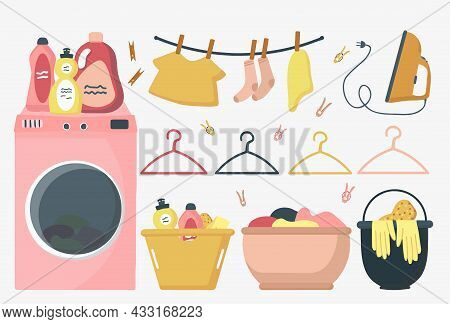 A Collection Of Vector Illustrations For Dirty And Clean Clothes. A Set Of Underwear. A Lot Of Washe
