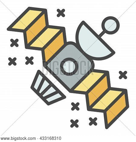 Space Satellite Icon. Outline Space Satellite Vector Icon Color Flat Isolated On White