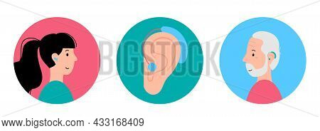 Human Hearing Aid Icon. Man And Woman Characters Are Happy To Hear With Hearing Device. Ear Sound Re