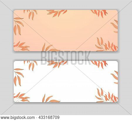 Luxurious Autumn Wallpaper With Orange Leaves On A White And Beige Background. Shiny Branches And Le