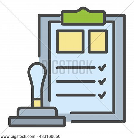 Bank Check Stamp Icon. Outline Bank Check Stamp Vector Icon Color Flat Isolated On White