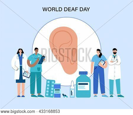 World Deaf Day Concept. Ent Medical Center. Ear Anatomical Poster. Doctors In An Otolaryngology Clin