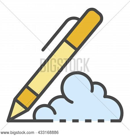 Writing Pen Icon. Outline Writing Pen Vector Icon Color Flat Isolated On White