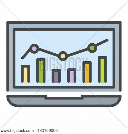 Laptop Finance Chart Icon. Outline Laptop Finance Chart Vector Icon Color Flat Isolated On White