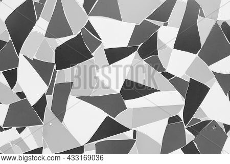 Broken Tiles On The Wall, Floor. Black White Background, Tiles Texture. Decorative Material For The