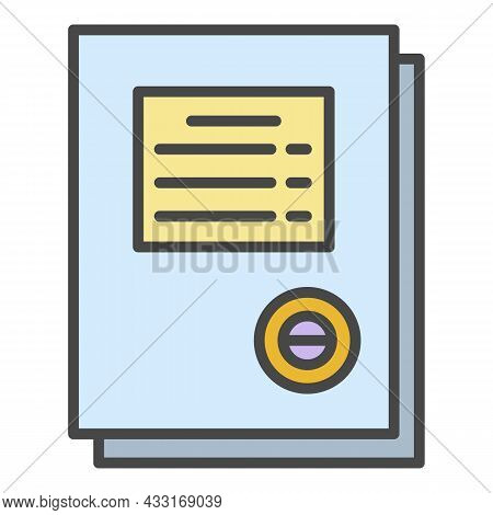 Work Paper Icon. Outline Work Paper Vector Icon Color Flat Isolated On White