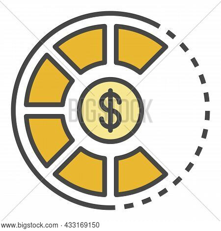 Money Pie Graph Icon. Outline Money Pie Graph Vector Icon Color Flat Isolated On White
