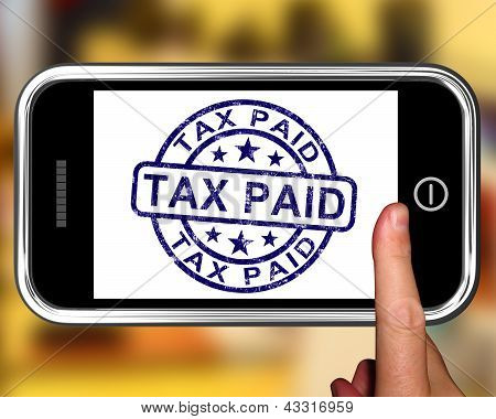 Tax Paid On Smartphone Shows Payment Confirmation