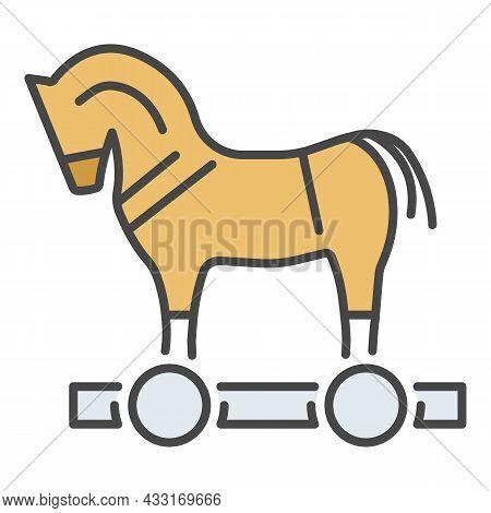 Trojan Horse Virus Icon. Outline Trojan Horse Virus Vector Icon Color Flat Isolated On White