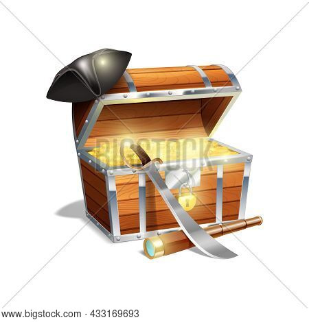 Pirate Wooden Treasure Chest Trunk With Gold Spy Glass Cutlass And Black Triangle Hat Abstract Vecto