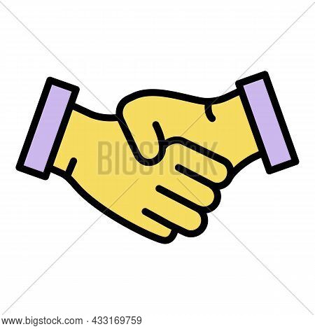 Bribery Handshake Icon. Outline Bribery Handshake Vector Icon Color Flat Isolated On White