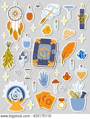 Sticker Set Of Magic Illustrations. Halloween Stickers