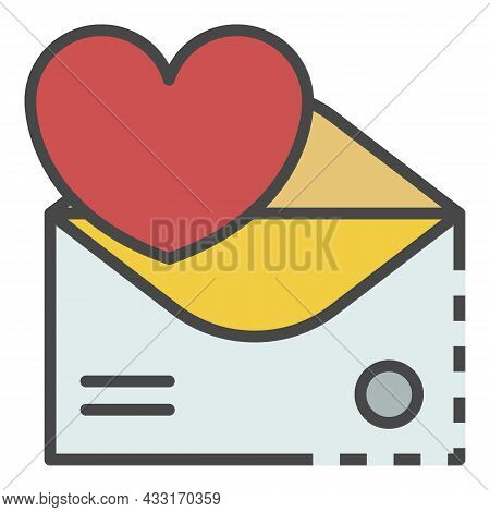 Email Heart Inbox Icon. Outline Email Heart Inbox Vector Icon Color Flat Isolated On White