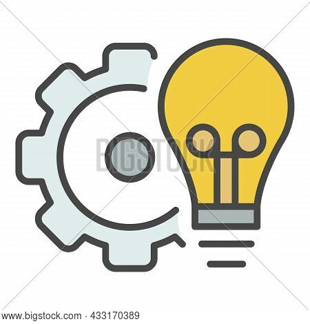 Bulb Gear Wheel Icon. Outline Bulb Gear Wheel Vector Icon Color Flat Isolated On White