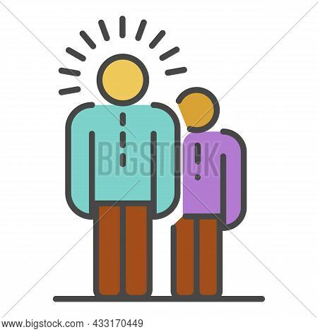 Teamwork Idea Icon. Outline Teamwork Idea Vector Icon Color Flat Isolated On White