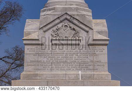 Usa, Virginia, Yorktown - March 30, 2013: Yorktown Victory Monument, Base Tells Story Of Siege, Batt