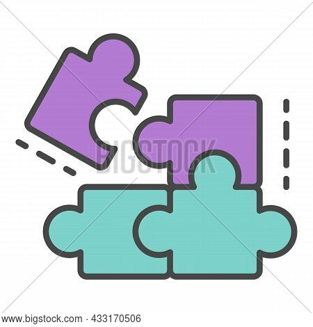 Complete Puzzle Solution Icon. Outline Complete Puzzle Solution Vector Icon Color Flat Isolated On W