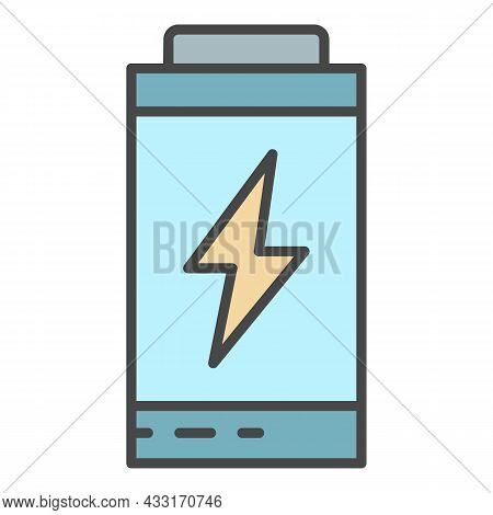 Battery Energy Icon. Outline Battery Energy Vector Icon Color Flat Isolated On White