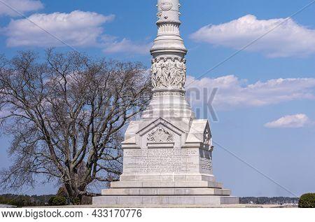 Usa, Virginia, Yorktown - March 30, 2013:  Pedestal Base And Podium, Yorktown Victory Monument , Whi