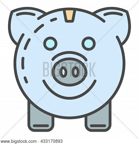 Piggy Bank Save Energy Icon. Outline Piggy Bank Save Energy Vector Icon Color Flat Isolated On White