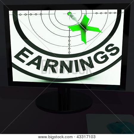 Ergebnis am Monitor anzeigen Profitable Einkommen