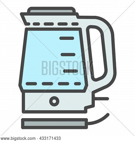 Electric Kettle Icon. Outline Electric Kettle Vector Icon Color Flat Isolated On White