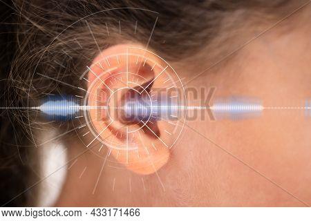 Hearing Aid For Deaf Children. Kid Ear Sound