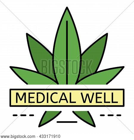 Cannabis Medical Well Logo. Outline Cannabis Medical Well Vector Logo Color Flat Isolated On White
