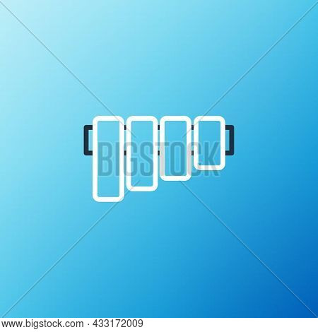Line Pan Flute Icon Isolated On Blue Background. Traditional Peruvian Musical Instrument. Folk Instr