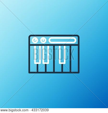 Line Music Synthesizer Icon Isolated On Blue Background. Electronic Piano. Colorful Outline Concept.