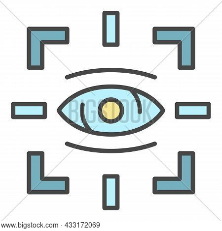 Detect Eye Icon. Outline Detect Eye Vector Icon Color Flat Isolated On White