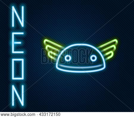 Glowing Neon Line Helmet With Wings Icon Isolated On Black Background. Greek God Hermes. Colorful Ou