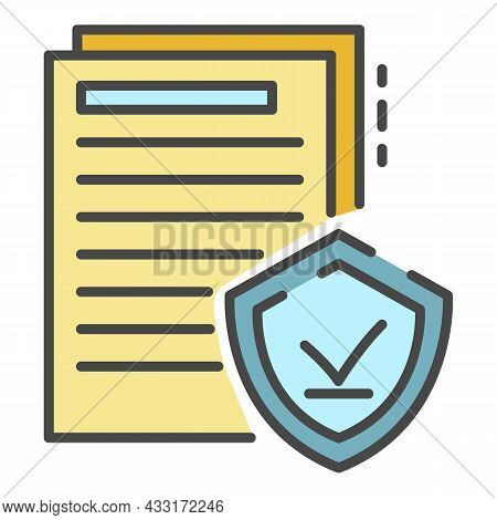 Secured Doc Paper Icon. Outline Secured Doc Paper Vector Icon Color Flat Isolated On White