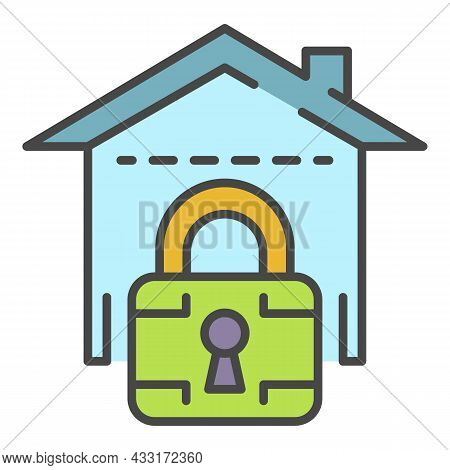 Locked Smart House Icon. Outline Locked Smart House Vector Icon Color Flat Isolated On White