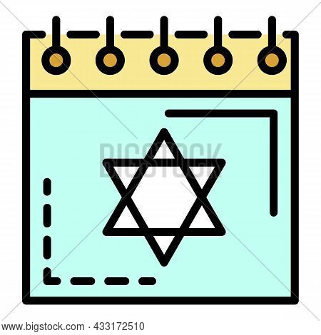 Jewish Calendar Icon. Outline Jewish Calendar Vector Icon Color Flat Isolated On White