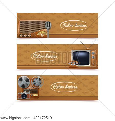 Retro Devices Banners Set With Vintage Radio Tv And Photo Camera Isolated Vector Illustration