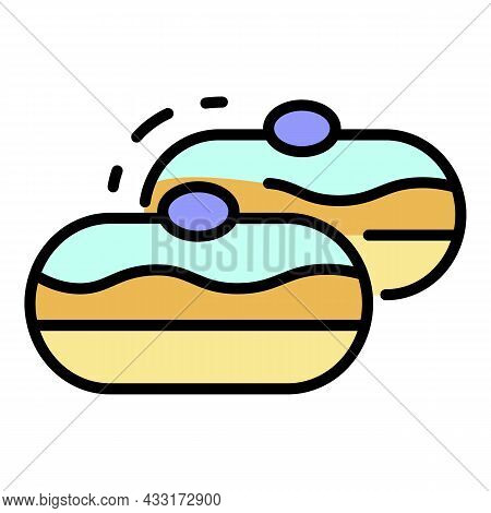 Jewish Bakery Icon. Outline Jewish Bakery Vector Icon Color Flat Isolated On White