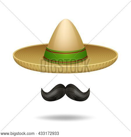 Sombrero And Mustache Mexican Symbols Decorative Icons Set Isolated Vector Illustration