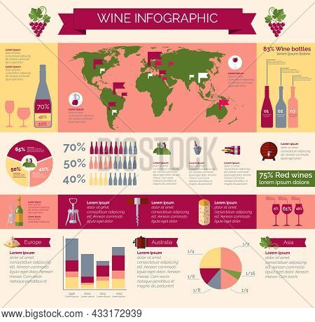 Worldwide Wineries Production Statistic And Wine Collections Distribution And Consumption Infografic