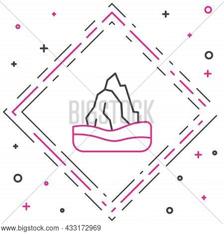 Line Iceberg Icon Isolated On White Background. Colorful Outline Concept. Vector