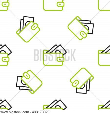 Line Wallet With Stacks Paper Money Cash Icon Isolated Seamless Pattern On White Background. Purse I