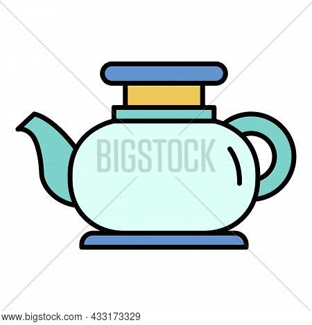 Modern Tea Pot Icon. Outline Modern Tea Pot Vector Icon Color Flat Isolated On White