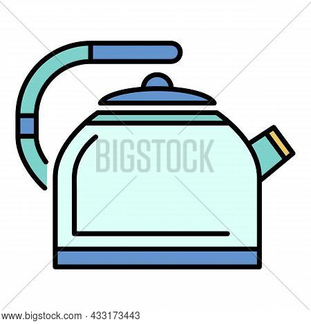 Metal Kettle Icon. Outline Metal Kettle Vector Icon Color Flat Isolated On White