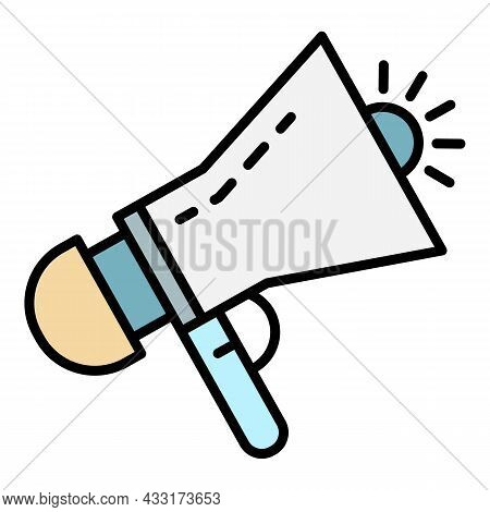 Siren Megaphone Icon. Outline Siren Megaphone Vector Icon Color Flat Isolated On White