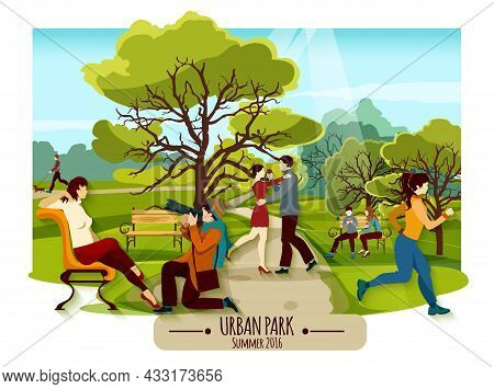 Garden Landscape Poster With Trees Walkway And People Relaxing On Benches Dancing And Doing Sports F